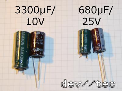 Orginal und - Ersatzkondensatoren für defektes Humax Netzteil PW403D